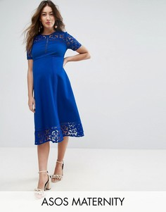 Премиум-платье миди с кружевными вставками ASOS Maternity - Синий