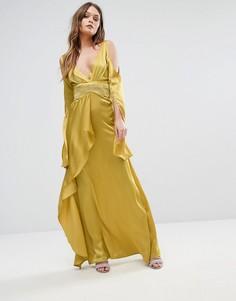 Драпированное платье макси с открытыми плечами Boohoo - Зеленый
