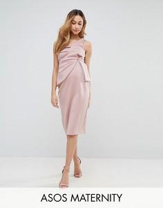Облегающее платье миди на одно плечо со складками ASOS Maternity - Светло-серый