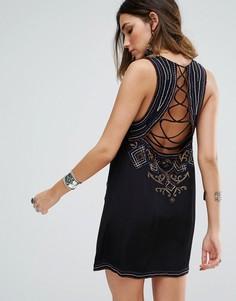 Цельнокройное платье с вышивкой Free People Manadala - Черный