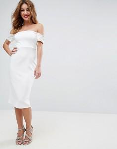 Облегающее платье миди с отделкой на манжетах ASOS - Белый