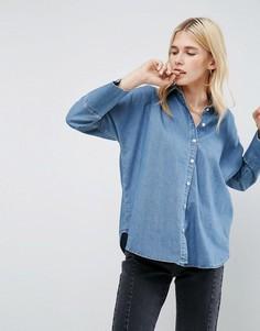 Синяя выбеленная джинсовая рубашка с рукавами летучая мышь ASOS - Синий