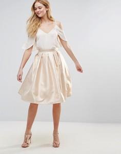 Короткая расклешенная юбка металлик Forever Unique - Золотой