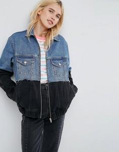 Джинсовая куртка с контрастным краем ASOS - Черный