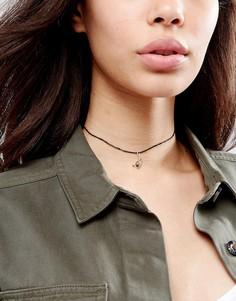 Ожерелье-чокер на кожаном шнурке с подвеской-пацификом ASOS - Золотой