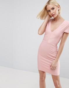 Облегающее платье мини в рубчик с V-образным вырезом ASOS - Розовый