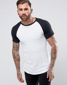 Белая удлиненная обтягивающая футболка с контрастными рукавами реглан ASOS - Белый