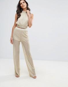 Плиссированнаые брюки с широкими штанинами и люрексом Love - Золотой