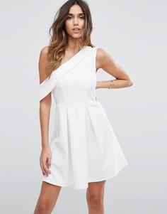 Платье мини на одно плечо ASOS - Кремовый