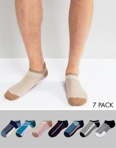 Набор из 7 пар спортивных носков колор блок ASOS - Мульти