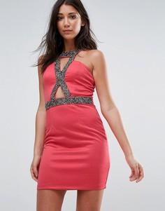 Облегающее платье с вырезом и отделкой Little Mistress - Оранжевый