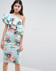 Платье миди на одно плечо с двойными оборками и цветочным принтом ASOS - Мульти
