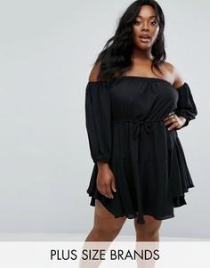 Свободное платье мини с открытыми плечами Boohoo Plus - Черный