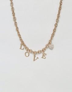 Ожерелье-цепочка в стиле 90-х с надписью Love New Look - Золотой