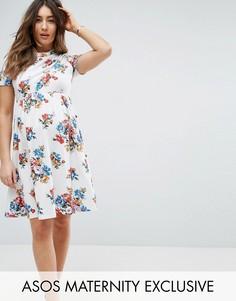 Платье с цветочным принтом и отделкой спереди ASOS Maternity - Мульти