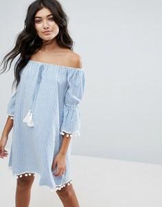 Пляжное платье в полоску с открытыми плечами America & Beyond - Синий