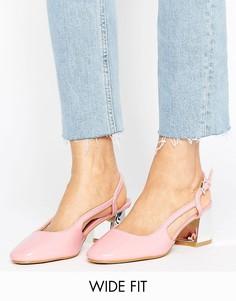 Туфли на среднем каблуке для широкой стопы с ремешком через пятку Lost Ink - Бежевый