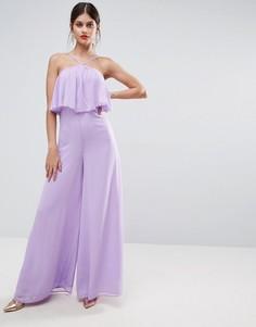 Комбинезон из жатой ткани с широкими штанинами и халтером ASOS - Фиолетовый
