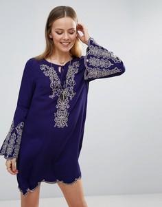 Свободное платье с вышивкой Lunik - Синий