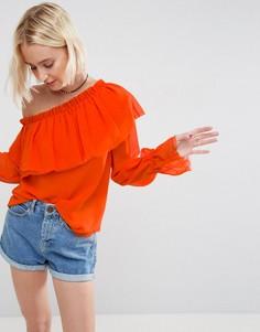 Блузка на одно плечо с оборками ASOS - Оранжевый
