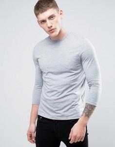 Серая меланжевая футболка с рукавами 3/4 и круглым вырезом ASOS - Серый