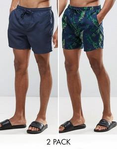 2 пары шортов для плавания (темно-синие, с тропическим принтом) Bravesoul - Темно-синий