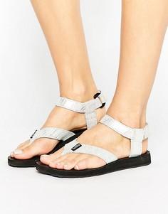 Кожаные сандалии цвета металлик Teva Original - Серебряный