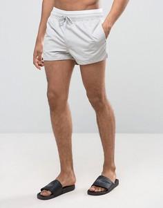 Серые суперкороткие шорты для плавания с двойным поясом ASOS - Серый