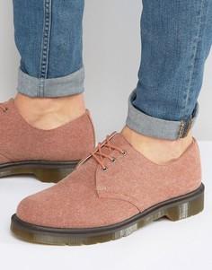 Выбеленные парусиновые туфли с 3 парами люверсов Dr Martens Lester - Красный
