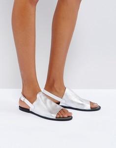 Кожаные сандалии металлик Vero Moda - Серебряный