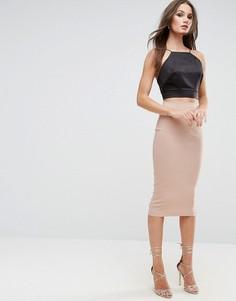 Длинная юбка-карандаш ASOS - Светло-серый