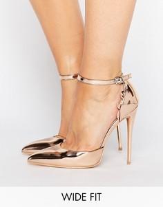 Золотистые туфли на каблуке для широкой стопы с фигурной отделкой Lost Ink - Золотой