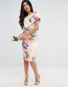 Платье-футляр миди с открытыми плечами и цветочным принтом ASOS WEDDING - Мульти