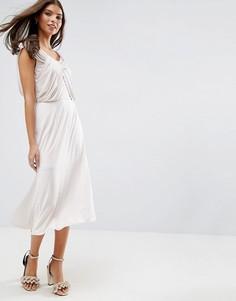 Платье миди с драпировкой ASOS WEDDING - Розовый