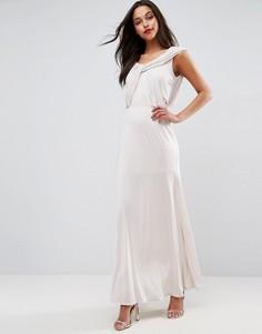 Платье макси с драпировкой ASOS WEDDING - Розовый