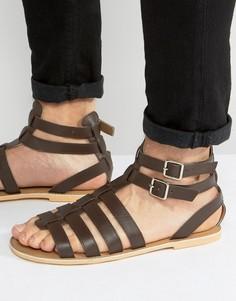 Коричневые кожаные гладиаторские сандалии Frank Wright - Коричневый