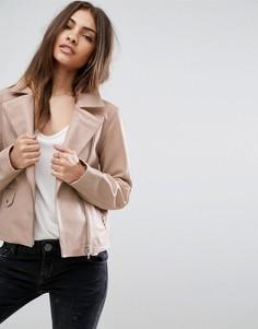 Розовая байкерская куртка из мягкой кожи ASOS - Розовый