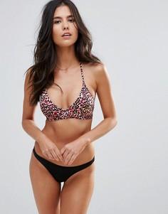 Купальник бикини с вырезом и леопардовым принтом Pistol Panties - Розовый