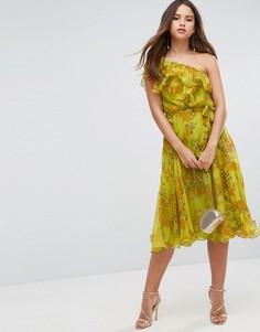 Платье миди на одно плечо с цветочным принтом и оборками ASOS - Желтый