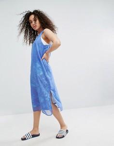 Платье с накладкой из шифрона и принтом океана adidas Originals - Мульти