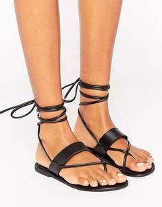 Кожаные сандалии с завязками ASOS FLEW - Черный