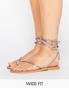 Кожаные сандалии на шнуровке для широкой стопы ASOS FIRE FLY - Розовый