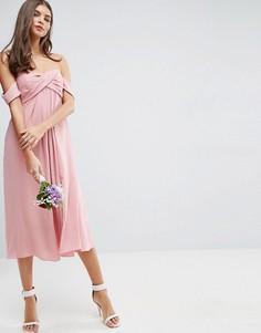 Платье миди с лифом-бандо ASOS WEDDING - Розовый