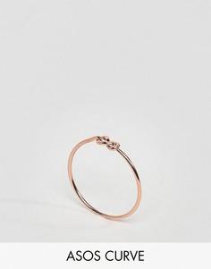 Покрытое розовым золотом серебряное кольцо на мизинец с узелком ASOS CURVE - Медный
