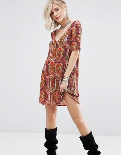 Чайное платье на пуговицах с принтом Glamorous - Мульти
