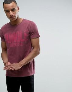 Выбеленная розовая футболка с круглым вырезом и принтом Esprit - Розовый