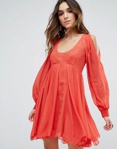 Короткое приталенное платье Free People Tatiana - Красный
