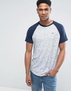 Белая/серая узкая футболка с рукавами реглан и логотипом Hollister - Белый