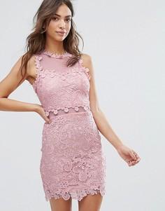 Кружевное платье-футляр с сетчатой кокеткой Love & Other Things - Розовый