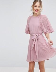Плиссированное платье мини с короткими рукавами-бабочка ASOS - Бежевый